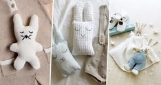 Doudou rabbit, bear, cat or even little sheep . To each his favorite stuffed animal! Discover all our patrons comforters to do yourself in knitting, crocheting or sewing. Rabbit Toys, Couture, Diy Toys, Sheep, Dinosaur Stuffed Animal, Blanket, Sewing, Knitting, How To Make