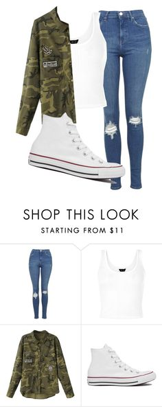 """Untitled #1149"" by abbeycadabbey ❤ liked on Polyvore featuring Topshop and Converse"