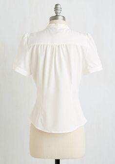 Elegant Appointment Top   Mod Retro Vintage Short Sleeve Shirts   ModCloth.com