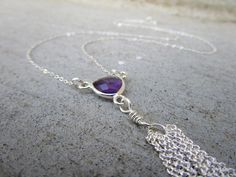 Purple Amethyst Sterling Silver Tassel Necklace