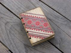 Wooden Coptic stitched  pocket journal modern stylish design Italian paper Traditional ornament handmade by ShikShok on Etsy
