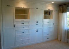 """Master Bedroom closet wall. I think it would be awesome to remove the """"closet wall"""" and replace it with this full built in wall."""