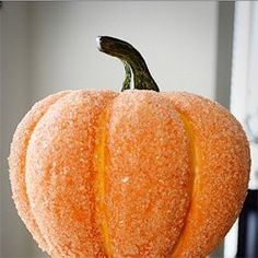 """""""Cover a pumpkin with glue and epsom salt for a sparkle that's more classic-looking than glitter ."""" - Cute for mini pumpkins on tables and such."""