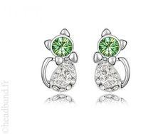Boucles d'oreilles chat cristaux vert