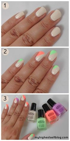 25 Very Easy Simple Step By Step Nail Art Tutorials For Beginners Learners 2014 Love Nails, How To Do Nails, Pretty Nails, Nails Decoradas, Pastel Nails, Neon Nails, Acrylic Nails, Nail Tutorials, Design Tutorials