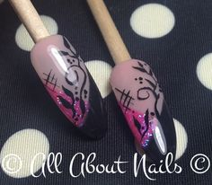 Pink and Black with free hand art added done at www.allaboutnails.org