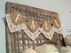 square paper doilies and burlap to make a banner