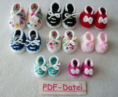 8 Häkelanleitungen deutsch PDF, PUPPENSCHUHE Sneakers Fußlänge 3-7 cm, Gr 20- 50 cm  crochet patterns, doll shoes, sneakers, girl american