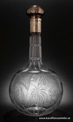 Gorham silver mounted decanter - glass by stourbridge, england about 1900