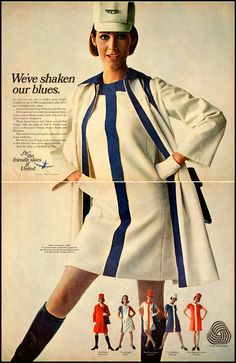 """United Airlines Ad, 1968. How cute is she?!  I had a uniform exactly like that and also a coral with white stripe...that hat and those gloves!!!!! Underneath???? ALWAYS a girdle or you'd get written up... Even if you were 5'7"""" and 120 lbs.!!!!!!"""