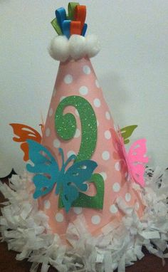 Butterfly party hat by ParkersMommy17 on Etsy. $7.00, via Etsy.