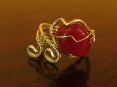 S.Silver Red Agate Heart Ring $78.00