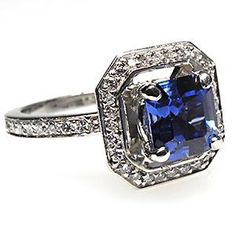 SQUARE EMERALD CUT BLUE SAPPHIRE & DIAMOND HALO ENGAGEMENT RING SOLID PLATINUM  sku: wm7077  Availability: 1 in stock    $6,799.00