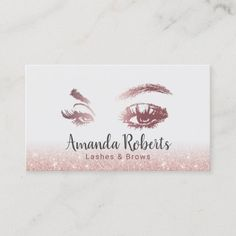 Lashes & Brows Makeup Artist Rose Gold Glitter Business Card Beauty Business Cards, Salon Business Cards, Hairstylist Business Cards, Black Business Card, Modern Business Cards, Bakery Business, Eye Icon, Rose Gold Glitter, Glitter Hair