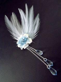 Powder blue boho feather hair clip ♥