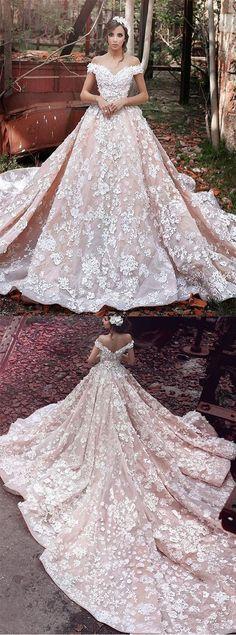 Luxurious Off Shoulder Wedding Gown,Watteau Train Formal Dress,Short Sleeves Organza Wedding Dress with Lace,Dramatic Blush Wedding Dresses,Wedding Dresses,RYU5467