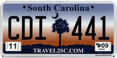 This is the official license plate for the state of South Carolina as it has been officially adopted by the state legislature. Also known as a vehicle registration plate, it is used to identify the car and owner of a motor vehicle or trailer in the state.