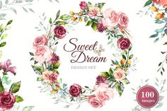 Watercolor Flower Clipart Design set by Lisima on @creativemarket