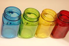 MASON JAR Mugs With Handle Colored Drinking Glasses Tinted Tumbler Aqua Blue Yellow Red Green Rainbow Pint Mug Glass Cup Rustic Vintage Neon... COLORED MASON JARS