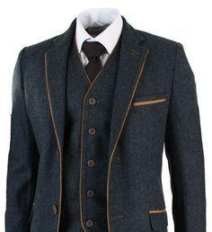 Mens Herringbone Tweed 3 Piece Suit Vintage Tailored Fit Brown Suede Patch Blue
