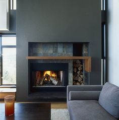 Mosewich House by D'Arcy Jones Design (6)  like this built in fireplace  the geometry of it appeals and the different textures.