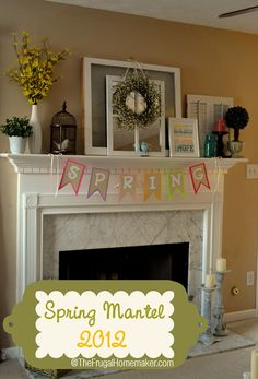 Spring Mantel with layered effect. #spring #fireplace #mantel