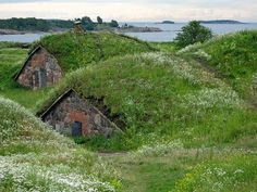 Camouflaged military bunkers Suomenlinna Fortress