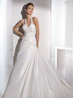 Halter Beaded Neckline with Shirring and Ruffles Wedding Dress