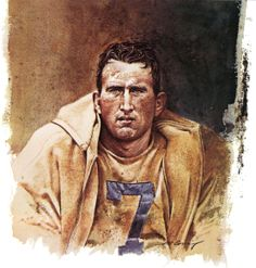 Bob Waterfield, Cleveland Rams (later for LA) QB. Portrait by Merv Corning 1975.