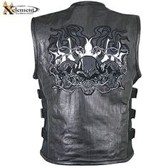 Special Offers - Xelement B95100 Mens Reflective Evil Triple Flaming Skulls Design Motorcycle V  3X-Large - In stock & Free Shipping. You can save more money! Check It (June 18 2016 at 09:30PM) >> http://motorcyclejacketusa.net/xelement-b95100-mens-reflective-evil-triple-flaming-skulls-design-motorcycle-v-3x-large/
