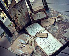Rustic Wedding Invitations Book Pocket fold by ShabbyScrap on Etsy Plan My Wedding, Wedding Pins, Wedding Album, Our Wedding, Wedding Planning, Dream Wedding, Wedding Ideas, Wedding Bells, Fall Wedding