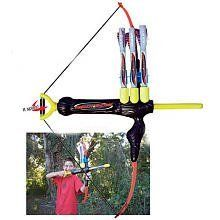 Marky Sparky Faux Bow - - Everything about this toy is fake. We admit it. From the faux Black Ebony handle to the fake bow string. It's all fake. All fake except the performance. The Faux Bow Kids Archery Set, Bow And Arrow Set, Nerf Toys, 12 Year Old Boy, Best Bow, Feel Good, Latex, Bows, Outdoor Decor