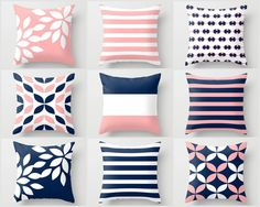 Pink Navy Pillow, Pillow Covers, Cushion Covers, Throw Pillow Covers, Home Decor, Floral, stripe, pattern, Mix and Match, pillow covers