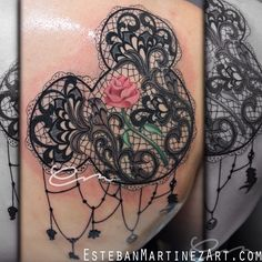 Absolutely incredible intricate black lace Mickey Mouse tattoo with a gorgeous Beauty and the Beast style rose--even has Disney themed charms hanging from it ...incredible Disney tattoo by Esteban Martinez