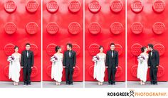 Rob Greer Photography - Bride & Groom Lego Polyptych at Disneyland Hotel: Colorful images can make for powerful wedding photographs. This photo, captured at Downtown Disney near the Disneyland Hotel, really pops. Taken outside the Lego store, this series is unusual and intriguing. This bride and groom have become good friends of mine and surprisingly this group of photographs speaks volumes to their personality and their relationship. The groom is known for his satirical grumpiness which…