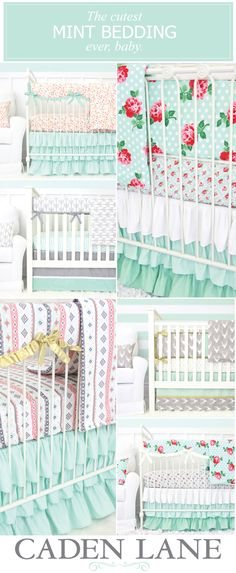 Mint is the perfect nursery color for boy or girl! Shop all of our mint crib bedding sets and start designing your dream nursery!