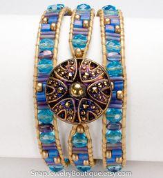 "Leather triple wrap snap bracelet beaded aqua purple blue, for 18mm snaps, like ginger snaps noosa, fits up to 7.25"" (18.4cm) wrist"