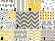 Gray and yellow crib bedding by MBrown24
