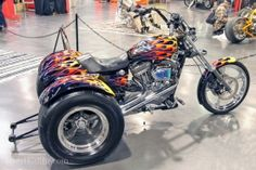 Sporting a 1250cc Harley, and wheelie bars this 2005 Sportster trike belongs to Frank Devenport of Huntington Beach, CA.
