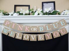 gender reveal banner baby shower by CelebratingTogether on Etsy