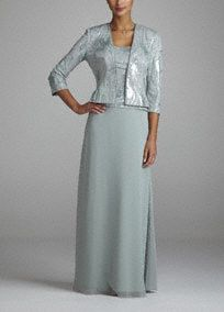 MOB David's Bridal Style Sleeveless bodice features ultra glamorous sequin sure to light up any dance floor. Long chiffon flowy skirt is elegant and feminine. sleeve sequin jacket adds just the right amount of coverage. Mother Of Groom Dresses, Bride Groom Dress, Groom Outfit, Mother Of The Bride, Bride Dresses, Long Jacket Dresses, Dressy Dresses, Event Dresses, Grandma Dress