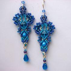 Purple and Aqua Beaded Macrame Earrings Micro by glassdancer, $40.00