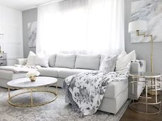 Paired with marble coffee table and gold frames (from Targe … Ikea Vimle sofa. Paired with marble coffee table and gold frames (from Target) - Marble Table Designs Living Room Sofa, Marble Coffee Table Living Room, Ikea Living Room, Ikea Vimle Sofa, Marble Tables Living Room, Cb2 Living Room, Gold Living Room, Blue Dining Room Chairs, Ikea Couch