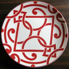 Decorative Dishes - Mini Bold Red on White Moorish Geometric Chic Scroll Plate, $9.99 (http://www.decorativedishes.net/mini-bold-red-on-white-moorish-geometric-chic-scroll-plate/)