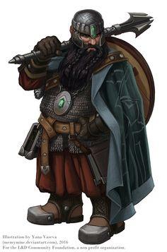 Emerald, anão clerigo guerreiro com maça pesada