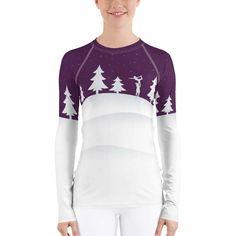 Snowy Night Women's Rash Guard Nero Rash Guard Women, Purple Sky, Women's Shirts, Acro, Winter Time, Stretch Fabric, Snow, Gym, Flat