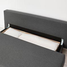 ASARUM Knisa dark grey, 3-seat sofa-bed - IKEA 3 Seat Sofa Bed, Deep Seat Cushions, Plastic Hinges, Ikea Bed, Polypropylene Plastic, Polyurethane Foam, Linen Bedding