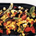 sweet corn salad with black beans, scallions, and tomatoes