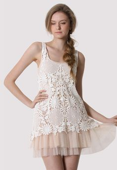 White Floral Crochet Top Over a Nude Dress/Slip - Retro White and Nude Collection