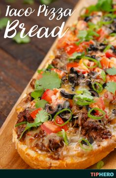 Taco Tuesday? Meet Pizza Friday. This taco pizza bread recipe is everything you love about both of your favorite foods, united into one awesome(ly) easy to pull off hybrid. Classic taco toppings like ground beef, refried beans, cheddar cheese green onions, and cilantro make this a flavorful fusion of two crowd pleasing favorites. And just in time for the Super Bowl! Click for the recipe and how to video.